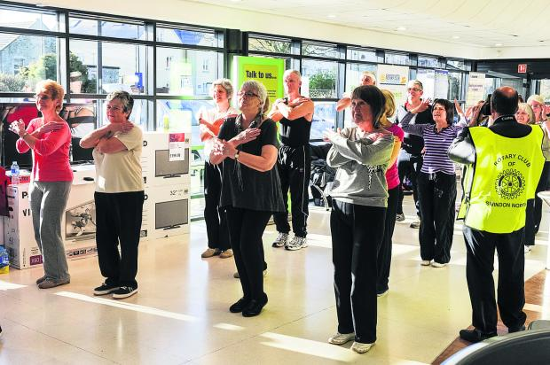 Swindon North Rotary Club doing a Zumba class in Highworth