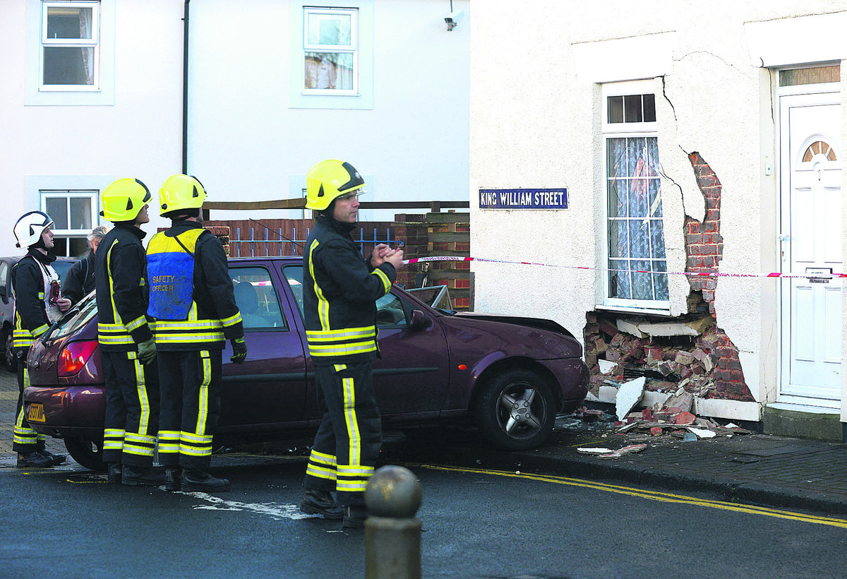The scene of the accident in King William Street yesterday