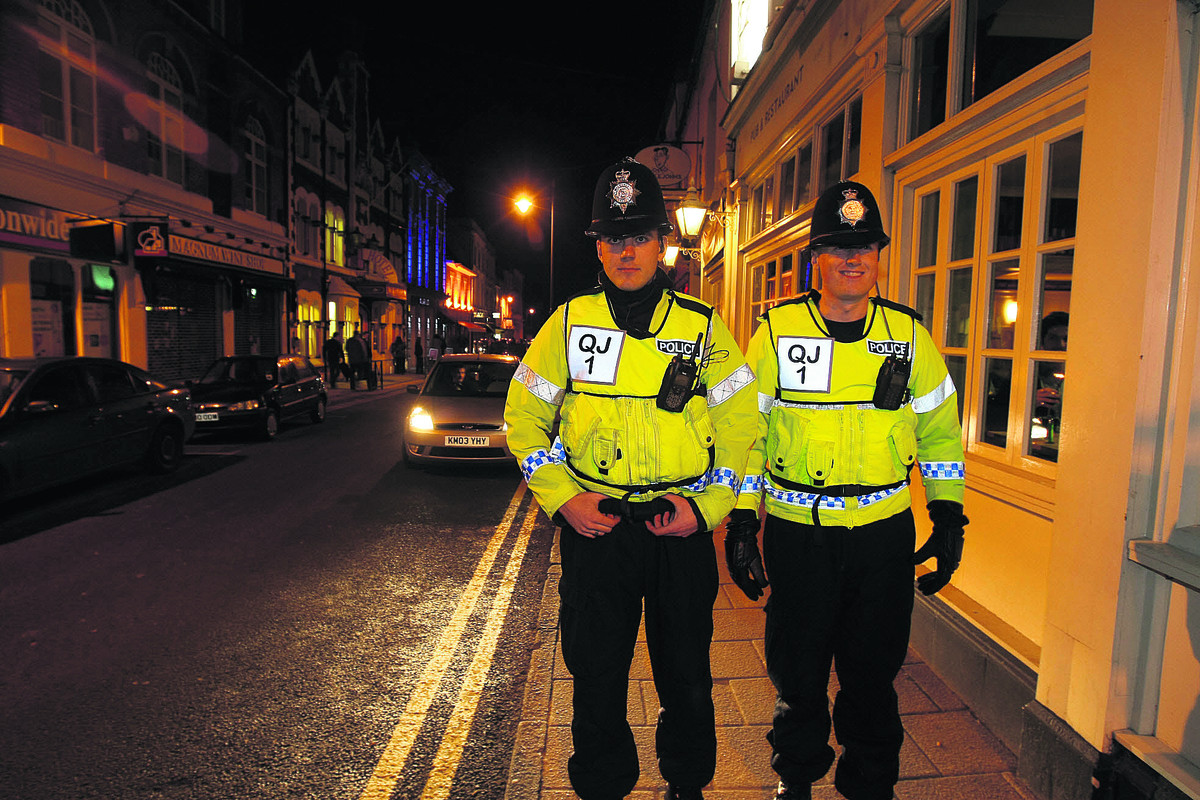 Police on patrol in Wood Street, Swindon ,on a Saturday night