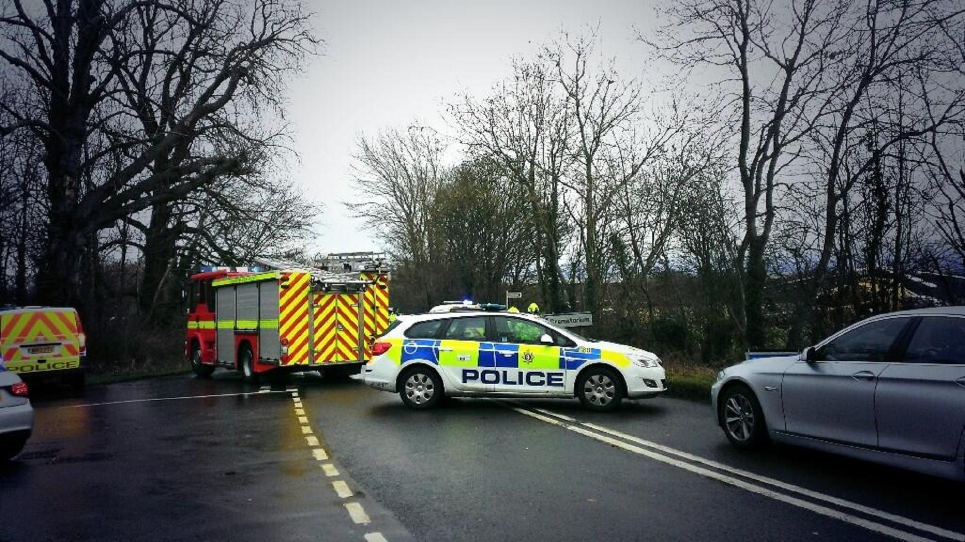 The emergency services at the crash scene on Kingsdown Road