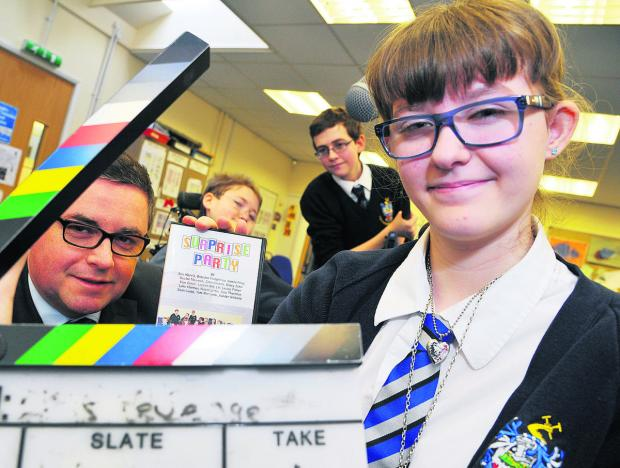 MP Robert Buckland with some of the young film-makers at Commonweal School – Ben Morris, Luke Harman and Kasey John