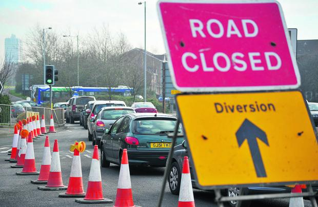 Rush-hour traffic in town centre hit by major works
