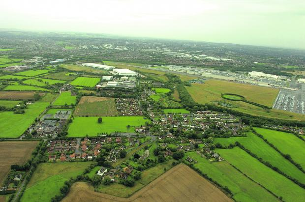 An aerial view showing South Marston