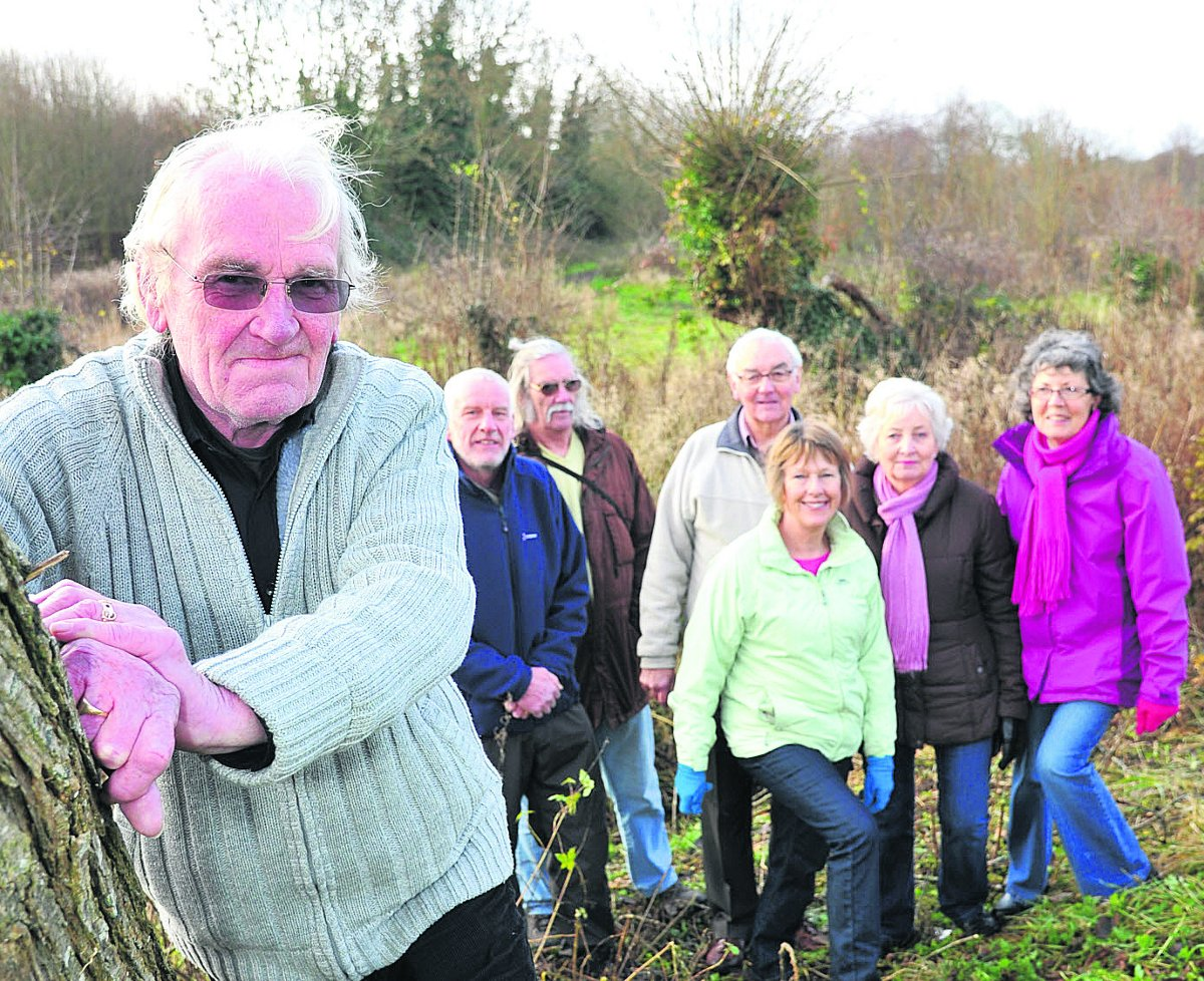 Members of Wroughton Parish Council and campaigners who are are raising money to buy Kings Farm Wood. From left, parish council chairman Paul Hurst,  parish councillor Steve Harcourt, the secretary of Vision For Wroughton Brian Tildesley, the chairman of