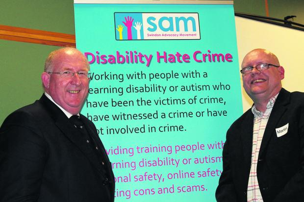 Police and Crime Commissioner for Wiltshire and Swindon Angus Macpherson, left, with disability hate crime ambassador Martin Kelly