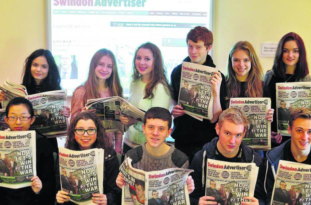 Some of the Swindon's sixth-form students got to grips with the pressures and pleasures of journalism on a two-day course