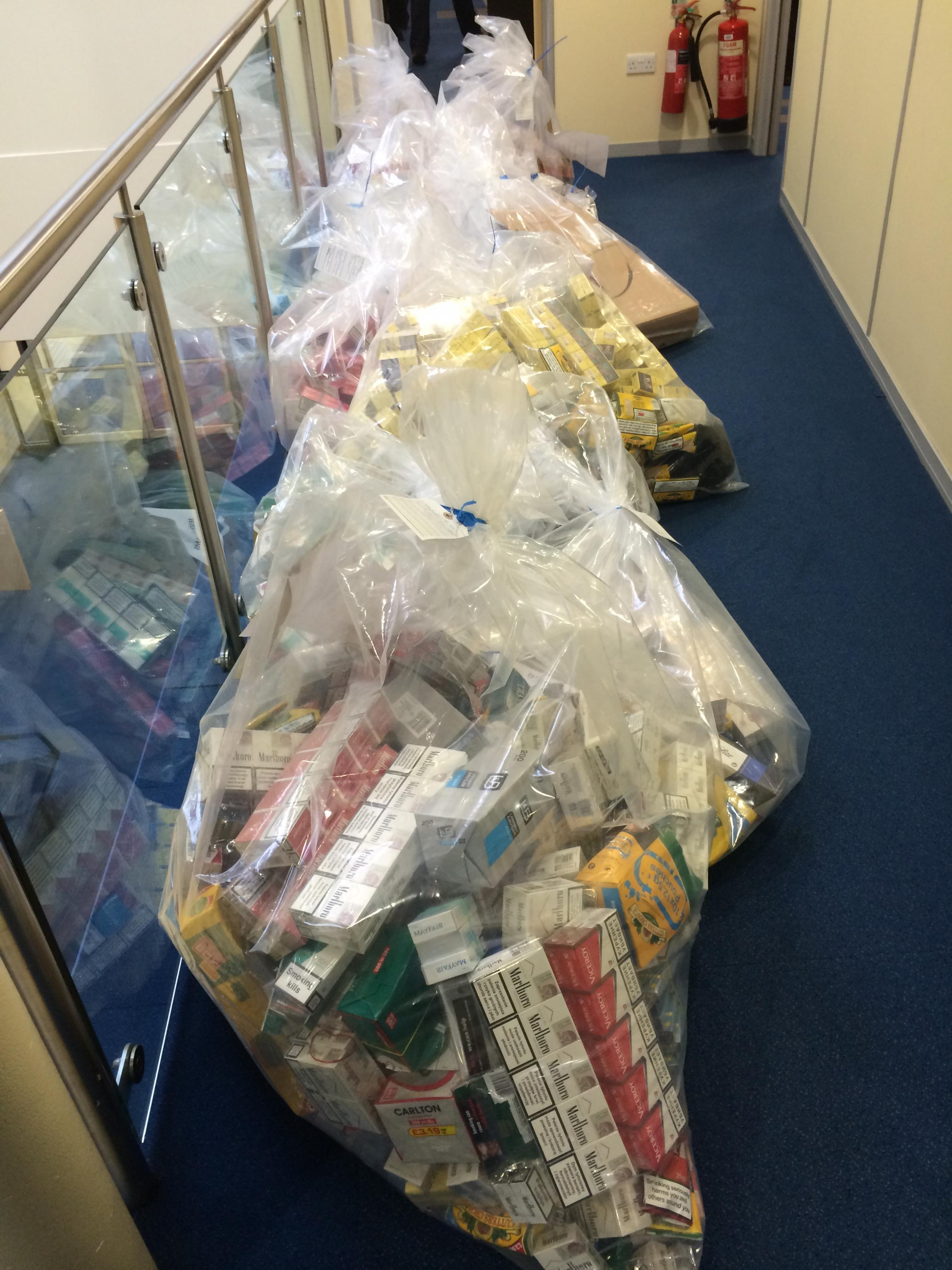 Some of the illegal tobacco seized yesterday