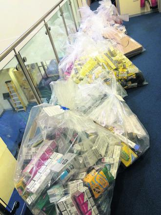 A haul of illegal tobacco collected during last week's raids