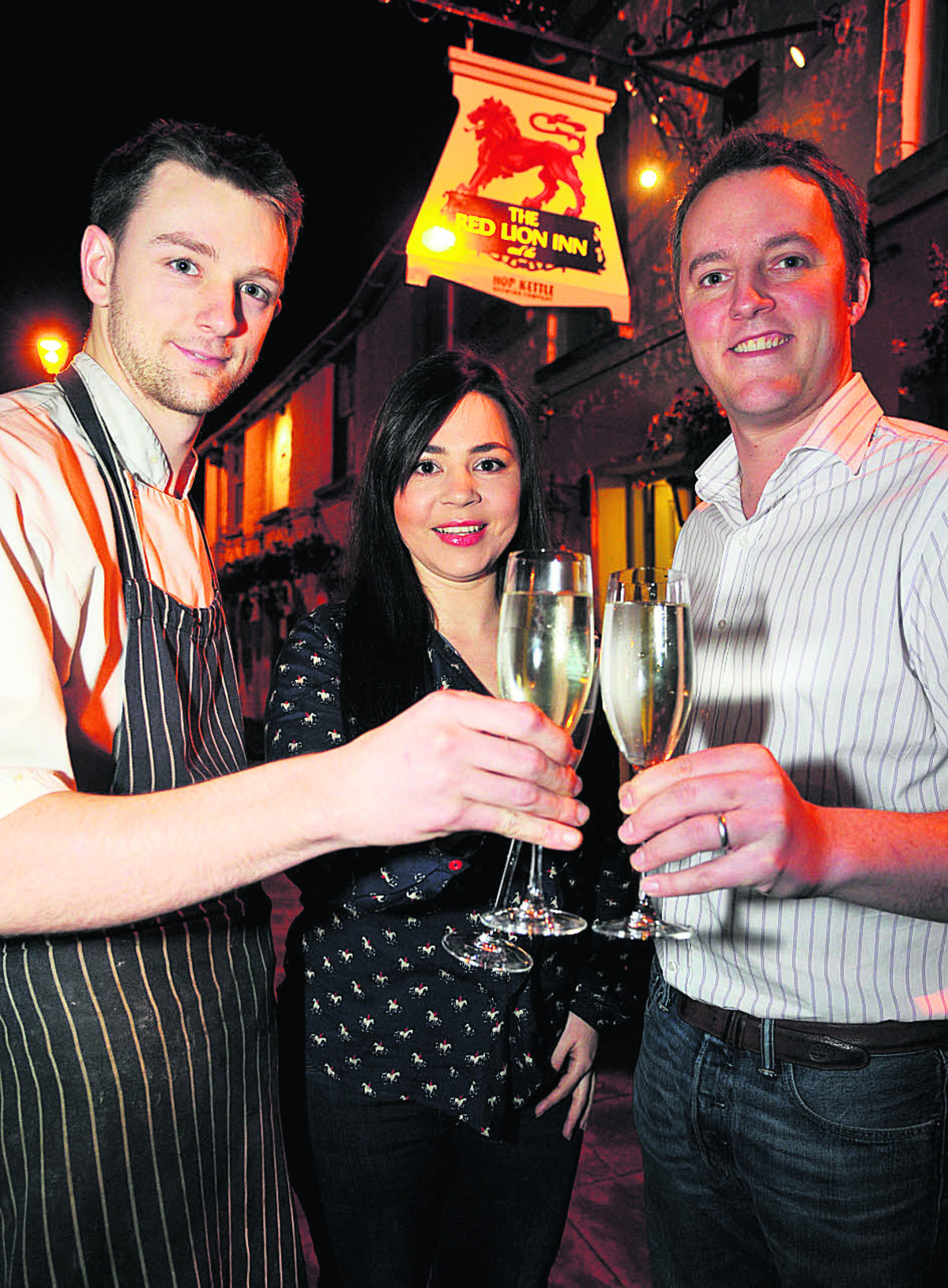From left, Red Lion head chef Chris White, manager Fernanda Carval and owner Tom Gee. Picture: DAVE COX