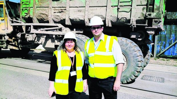 Priory Vale councillors Emma Faramarzi and Toby Elliott on a visit to the Chapel Farm site