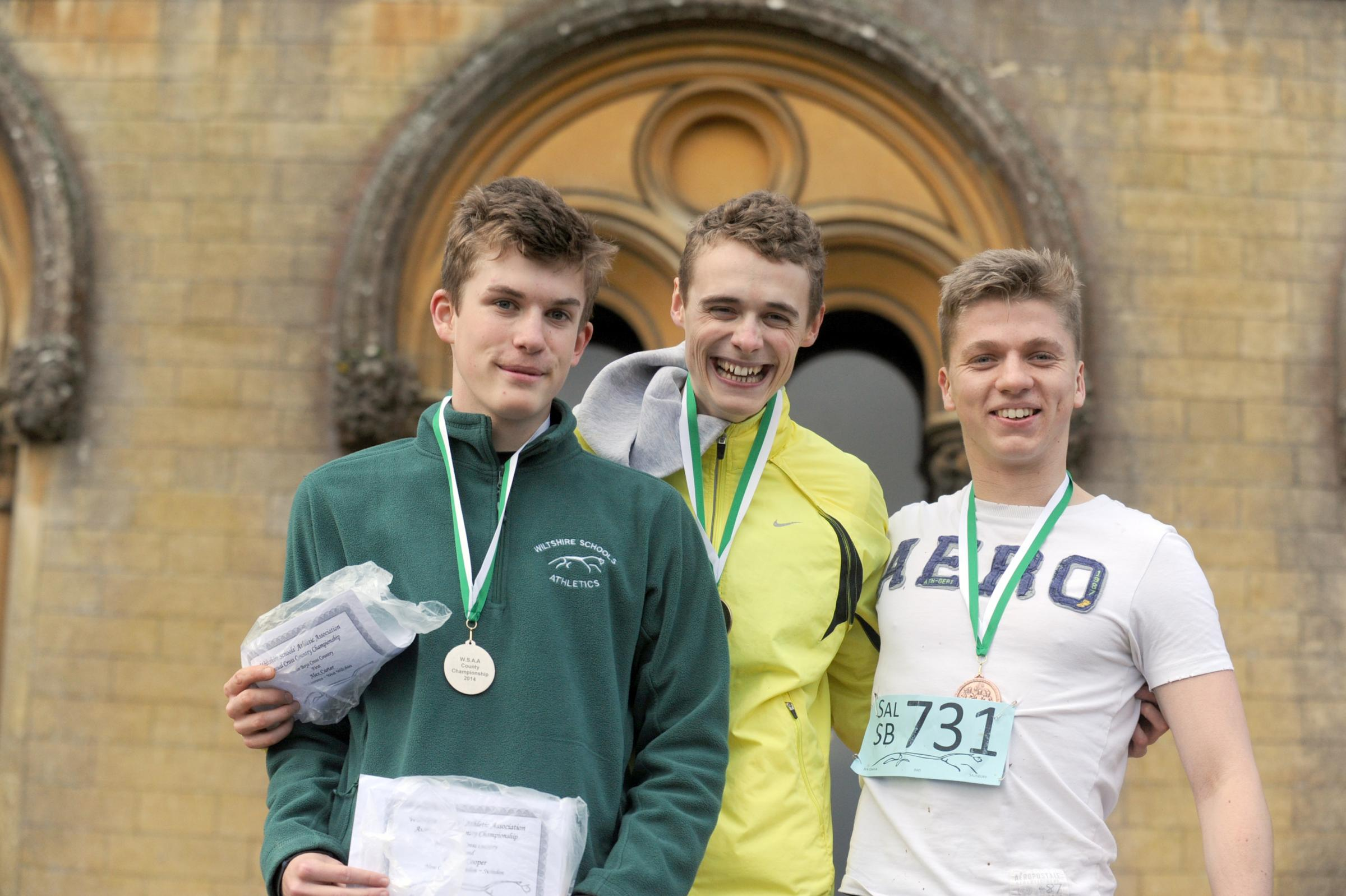 The top three in the senior boys event (l-r): Second-placed