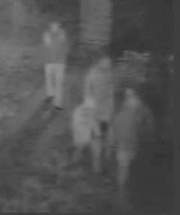 CCTV footage of the four individuals police wish to speak to following a suspected arson in Purton