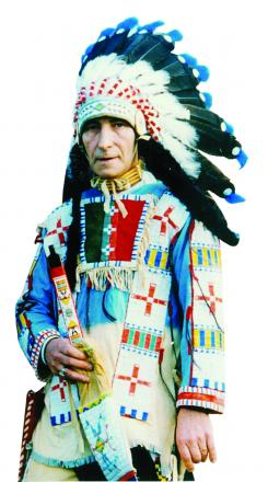 With Sioux blood running through his veins Jeff Starr looked the part when swapping his bus driving uniform for full Native American regalia