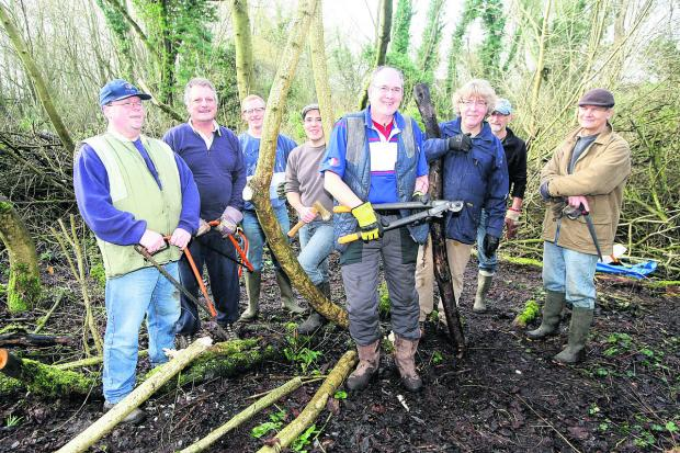 Members of the Peatmoor Community  Woodland Group have been clearing the area