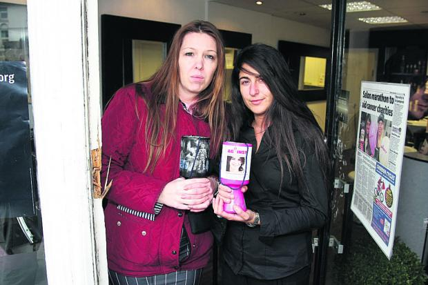 Swindon Advertiser: Hayley Whatton and Emmarella Passaro, of the What Woman Want hair salon who previously had all their charity money stolen