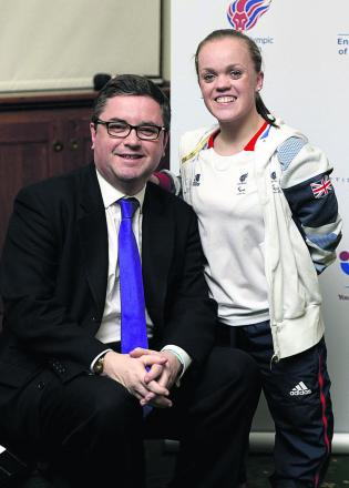 South Swindon MP Robert Buckland at the House of Commons launch of Active Kids For All with ambassador Ellie Simmonds