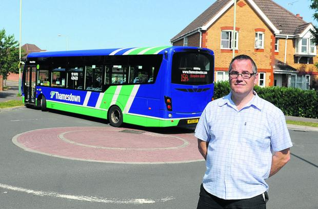 David Parkinson and residents are highlighting the problems with buses and HGVs which come down Queen Elizabeth Drive