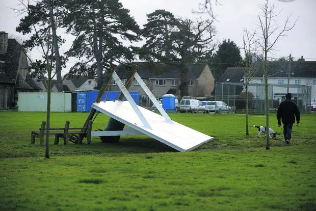 Swindon Advertiser: The Swindon area escaped the worst of the weather but high winds caused damage in Shrivenham