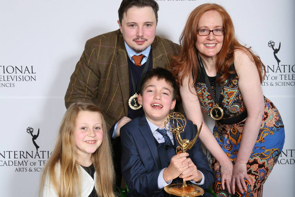 Phoebe Maddison, left, with David Barnes, Louise Lynch, Archie Cable and the Emmy award for factual winner