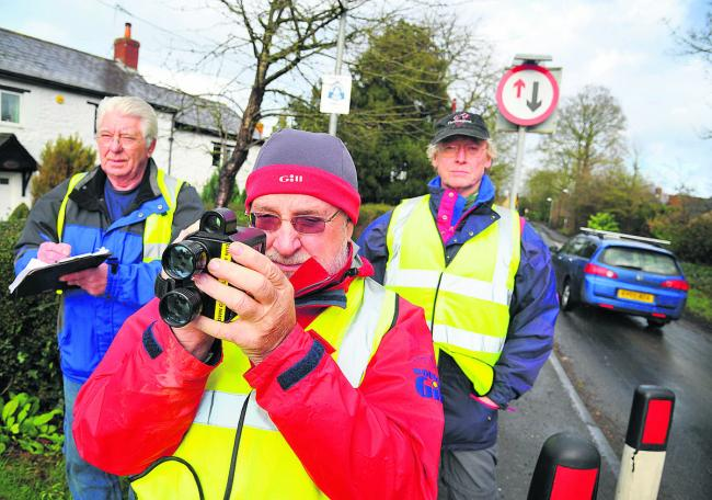 Martin Taylor, Barry Thunder and Des Fitzpatrick take part in the South Marston Community speed watch scheme