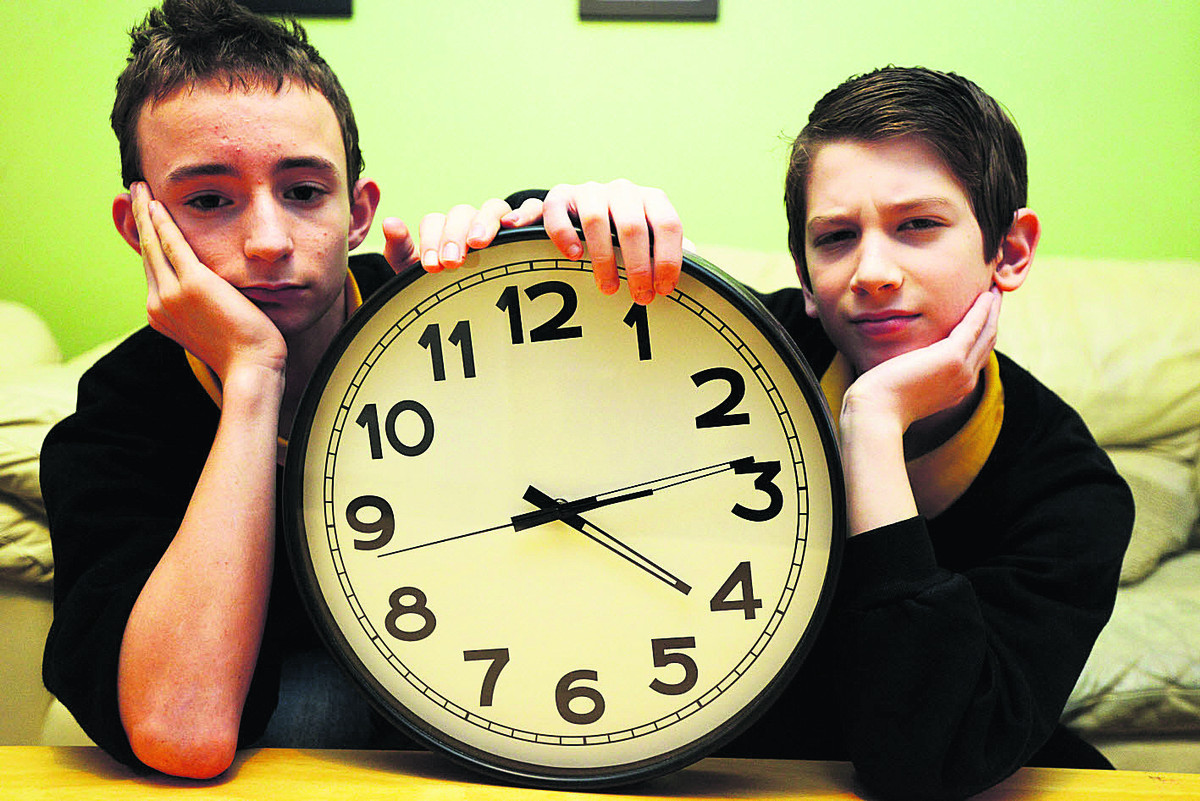 Pupils James and Angelos who face having 15 minutes chopped off their lunch breaks. Picture: THOMAS KELSEY