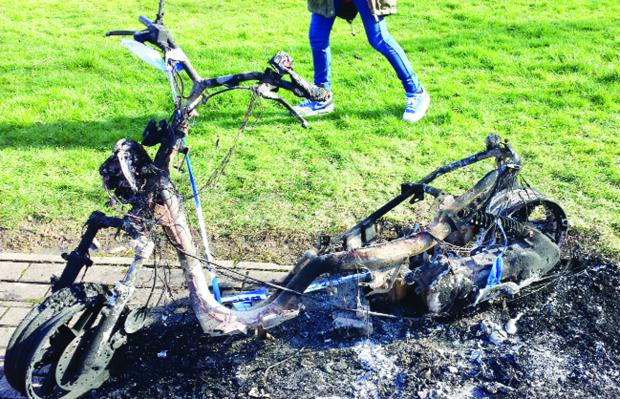 The torched £1,000 bike