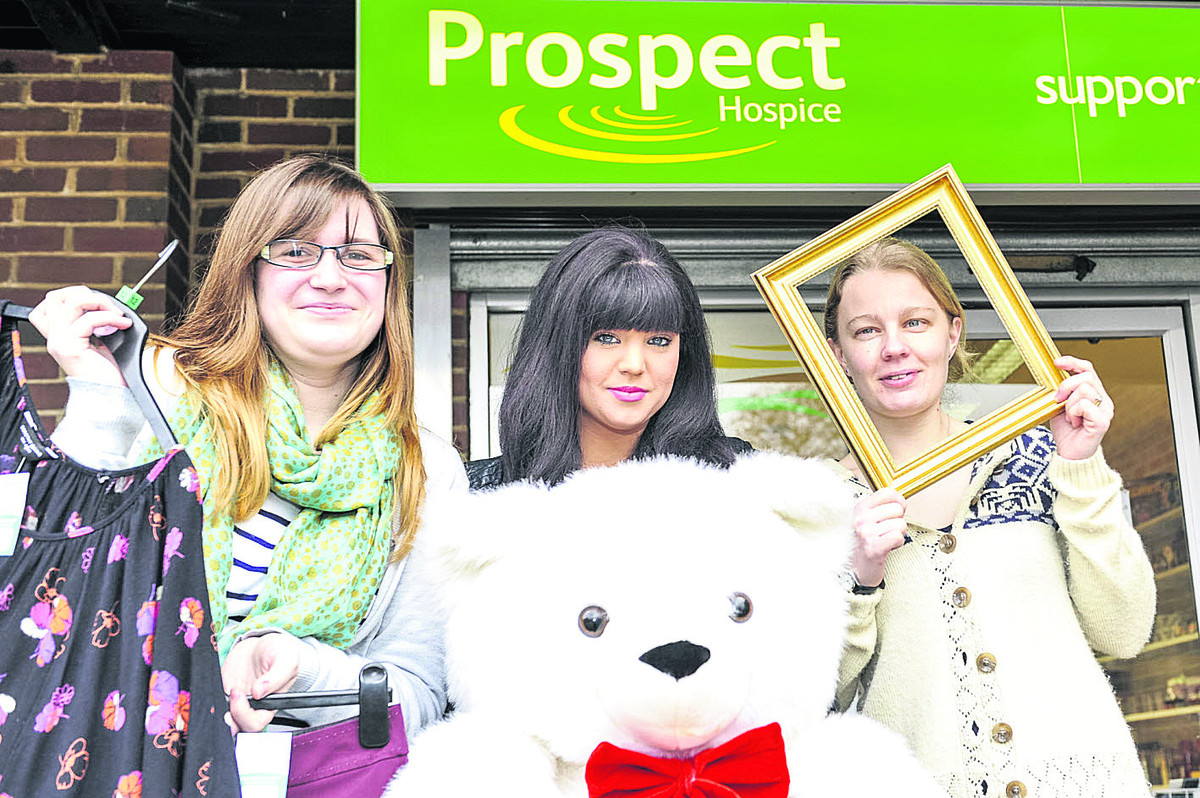 Prospect charity shop in Toothill is looking for more volunteers to help out in the shop. From left, volunteer Charlotte Markham, store manager Jodie Prescott  and assistant store manager Amy Bracey