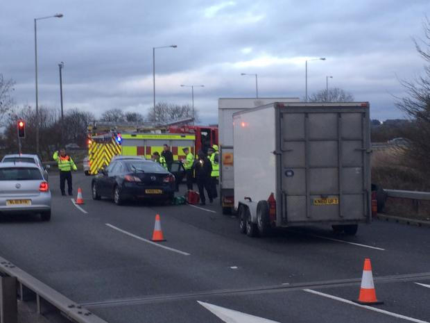 The scene of the accident on the junction of the A419 and J15 of the M4