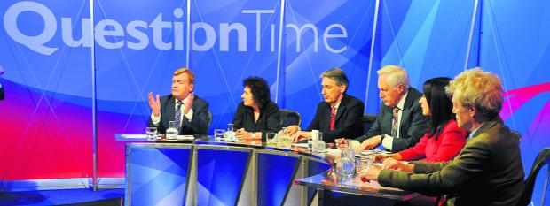 Swindon Advertiser: The Question Time panel in action at New College