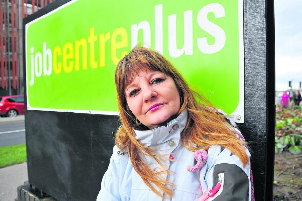 Karen Simpson, who claims Job Seekers' Allowance, at Swindon Job Centre Plus