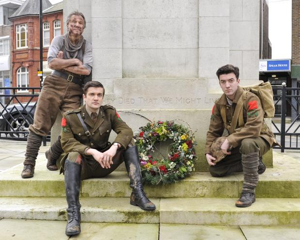 Cast members of Birdsong at Swindon Cenotaph. From lef