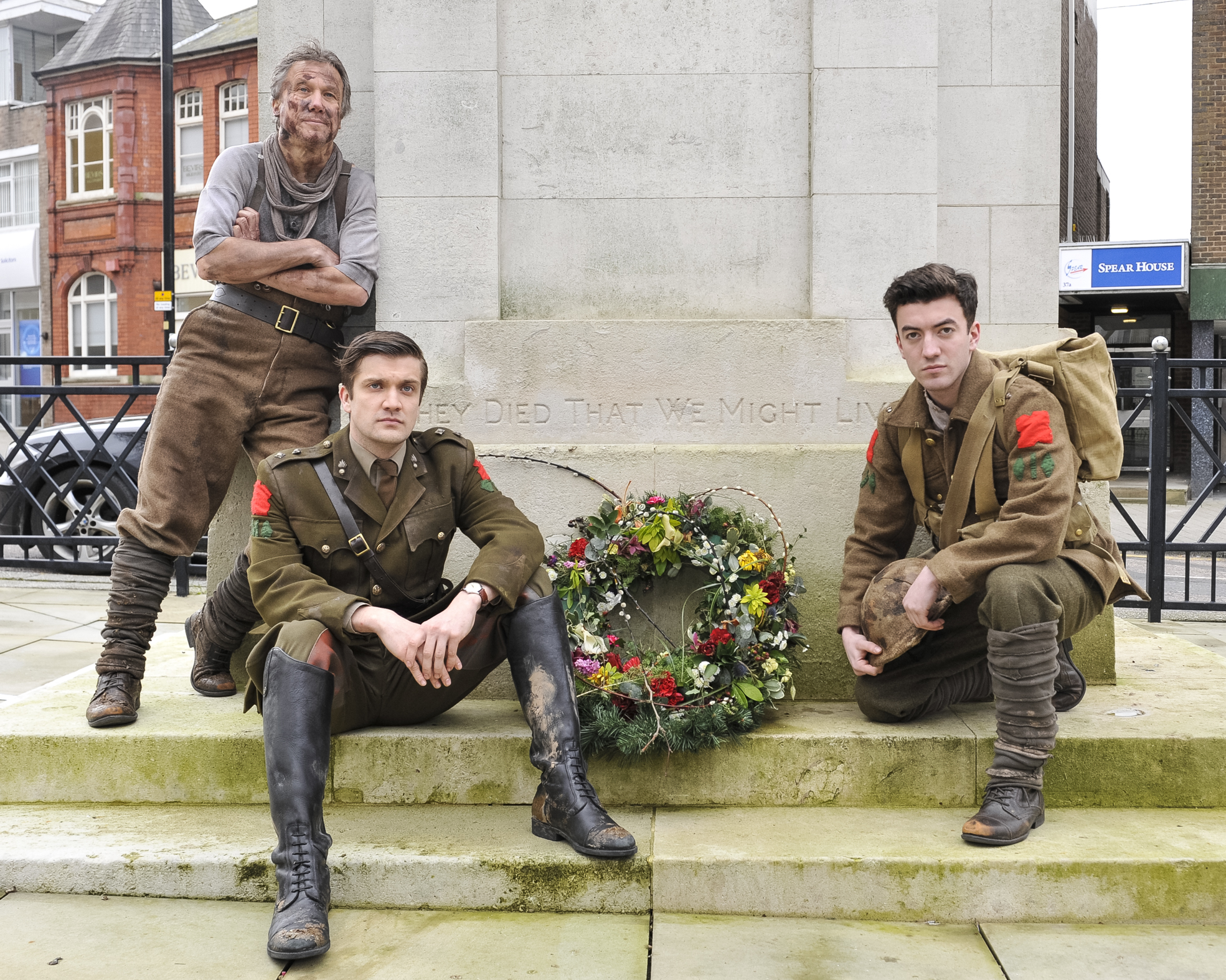 Cast members of Birdsong at Swindon Cenotaph. From left, Peter Duncan,