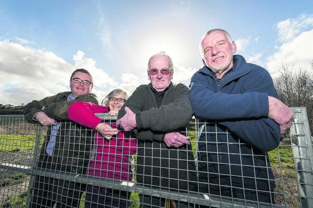 A group of residents are going on an 18-mile walk to raise the final £5,000 needed for the Kings Farm Wood appeal. Pictured from left, Robert Buckland MP and councillors Ann Richards, Paul Hurst and Steve Harcourt