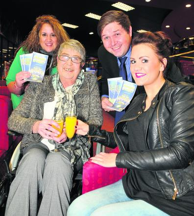 Yvonne Woolf having her Christmas Wish granted at Gala Bingo in Greenbridge, with her granddaughters Kimberley Newbold and Danielle Bird, and Steve Rogers of Gala Bingo