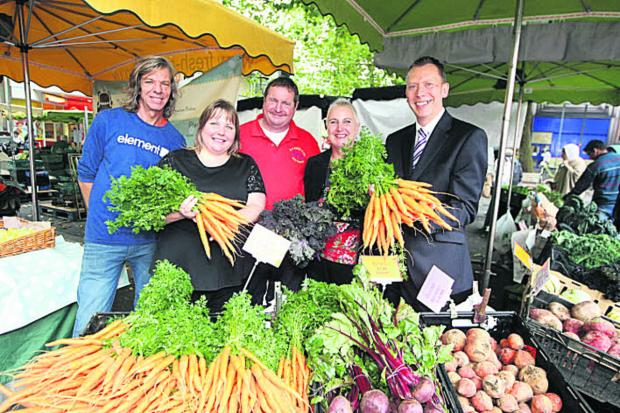 Kardien Gerbrands, Coun Emma Faramarzi, Duncan Paget from DS Paget & Co vegetables, In Swindon bid manager Rebecca Rowland and In Swindon chairman Paul Booth at the launch of the market