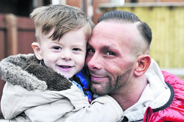 Sebastian Murtough, who is going to Great Ormond Street Hospital, with his father Steve Murtough