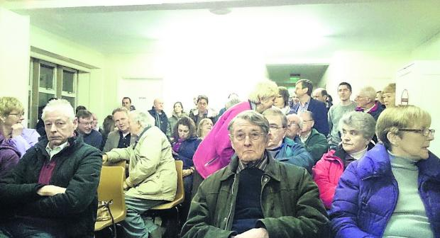 Residents in Royal Wootton Bassett pack out the Civic Centre at a meeting about proposals to build a Tesco store and 300 homes