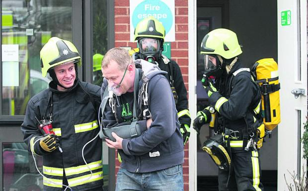 Swindon Advertiser: Fire service stages drill