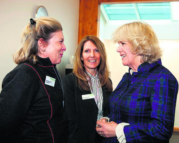 Camilla on a visit to Prospect Hospice last year with Sheryl Crouch, head of fundraising (centre) and Caroline Larken, a Prospect ambassador