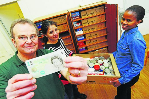 David Hartridge, Suzan Telles and Gail Mayo launch Swindon Foodbank's Give Up A Little Something for Lent campaign