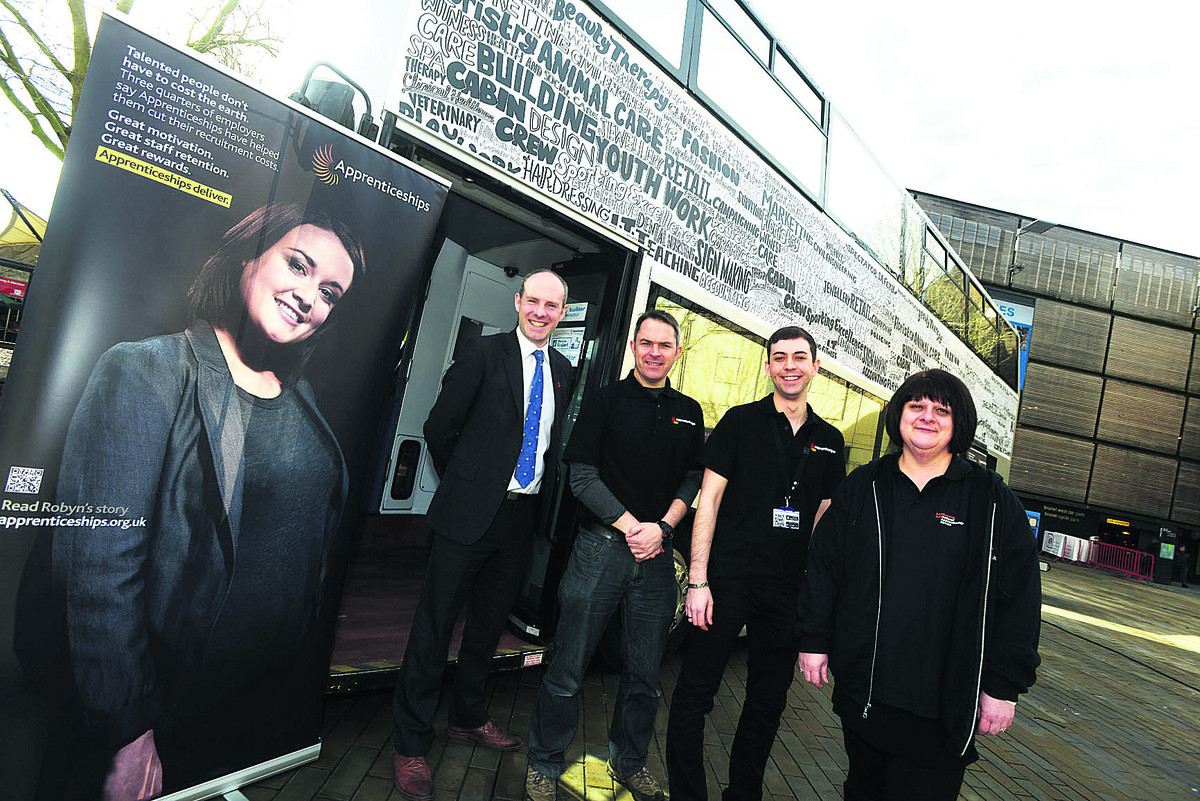 The Apprenticeship bus visits Swindon,  giving people advice on apprenticeships. Pictured are, left to right, MP Justin Tomlinson, Steve Jenkins, Rob Boreham-Fish and Sally Timmins
