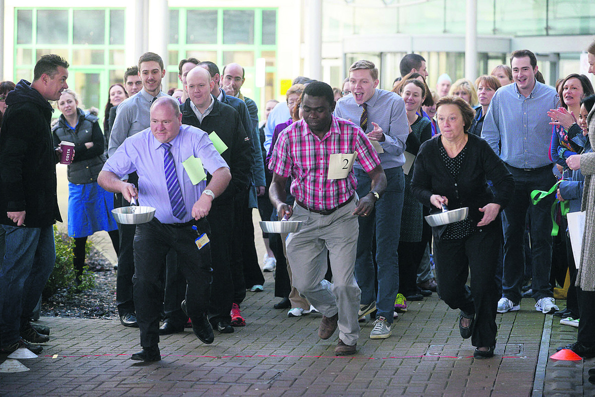And they're off in GWH's pancake race raising money for Brighter Future