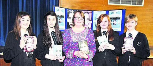 Teri Terry and pupils from the Ridgeway school