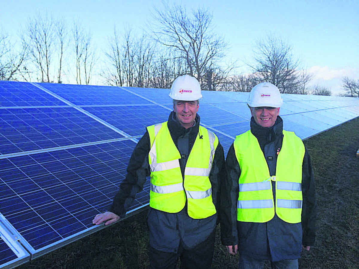 Guy Madgwick (UK solar director of Eneco) and Frans van de Noort (European solar director) at Sevor Farm