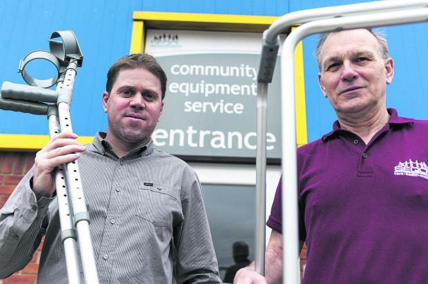 Brendon Leighton (warehouse and logistics supervisor) and Barrie Parsons (decontamination and quality control team leader) appeal for the return of equipment