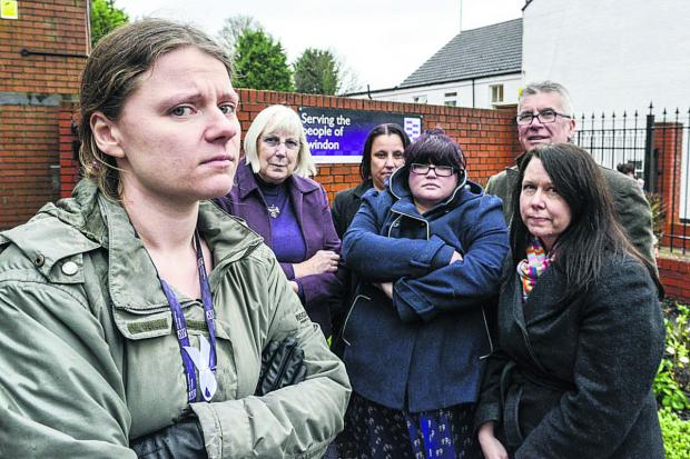 Swindon Advertiser: Probation Officers against the privatisation of parts of the service. From left Albertine Davies, of the  National Association of Probation Officers, Marie West, Sharon Drew, Michelle James, Andy O'Pray and Kirsten Fenton