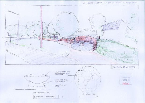 A drawing of the proposed peace memorial to mark the centenary of the beginning of the First World War