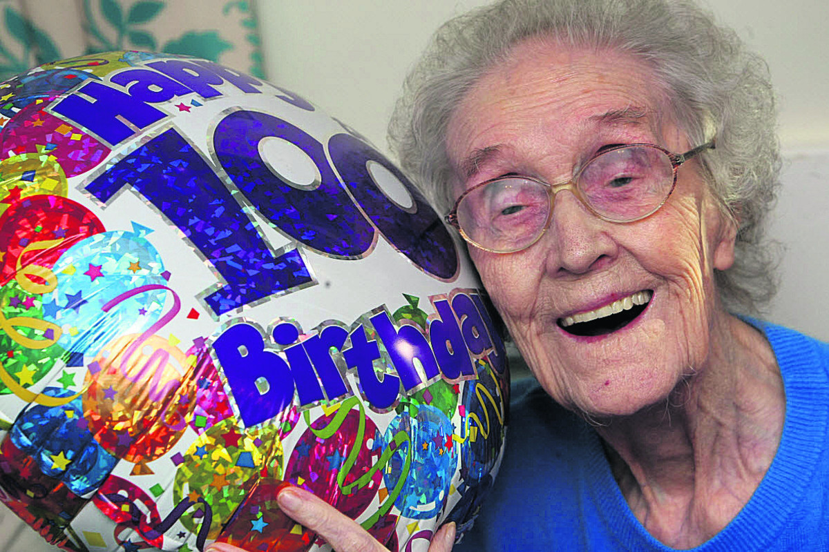 Edna Cook celebrating her birthday two years ago as a sprightly 100-year-old