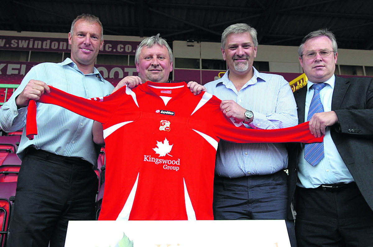 Kingswood Construction sponsored Swindon's Town's shirt in 2007. Mark Groves is pictured, left, with Kingswood's Brendan Mitchell (second right), showing off the new shirt with Paul Sturrock and Martyn Starnes (right) at the County Ground