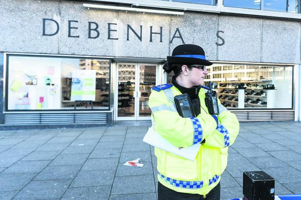 Police presence outside Debenhams on Fleming Way following the sexaul assault of a woman last month